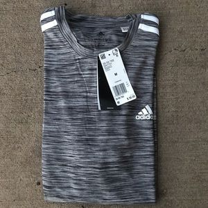 Adidas Grey Three Stripes Short Sleeve Shirt